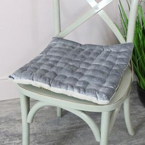 Grey Velvet Seat Pad