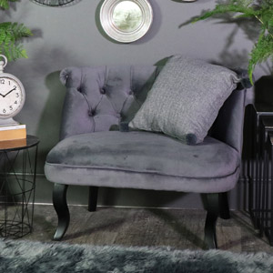 Grey Velvet Vintage Lounge Sofa