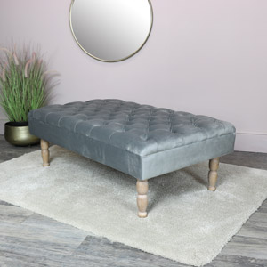 Grey Velvet Upholstered Bench