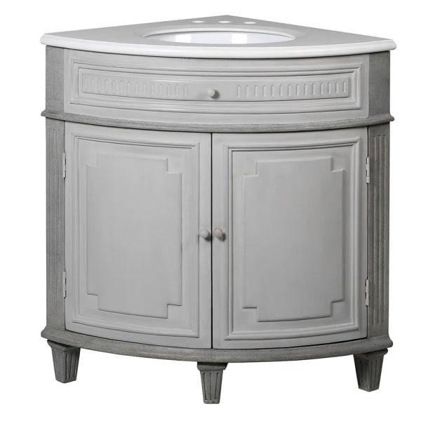 Grey Vintage Corner Vanity Sink Unit