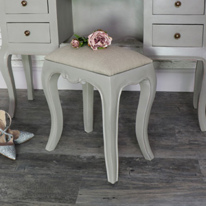 Grey Vintage Padded Dressing Table Stool - Leadbury Range