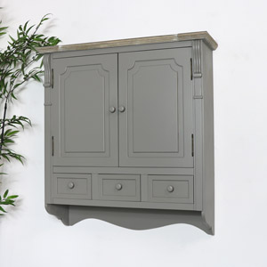 Grey Wall Mounted Cupboard with Drawers