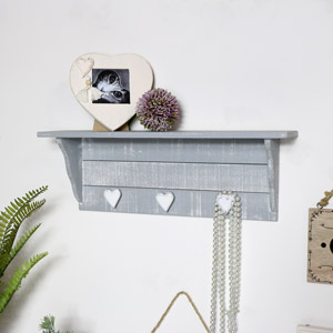 Grey Wall Shelf with Coat Hooks