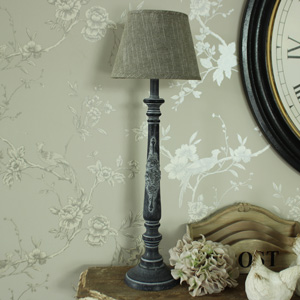 Grey Washed Wooden Table/Bedside Lamp with Tweed Linen Shade