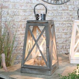 Grey Wooden Lantern Style Table Lamp