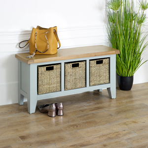 Grey Wooden Storage Bench - Rochford Range