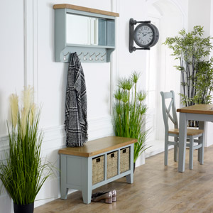 Grey Wooden Storage Bench with Wall Mirror - Rochford Range
