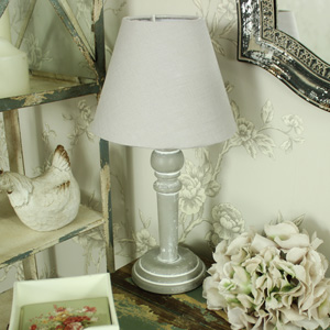 Grey Wooden Table/Bedside Lamp with Linen Shade