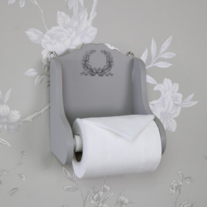 Grey Wooden Vintage Laurel Leaf Toilet Roll Holder