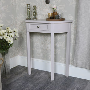 Grey Half Moon Console Table with Drawer Storage – Daventry Taupe-Grey Range