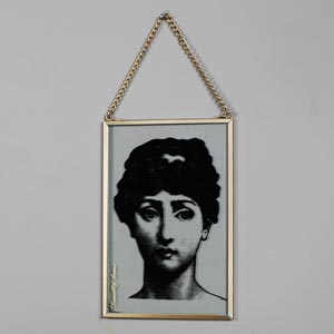 Hanging Glass Boudoir Lady Plaque