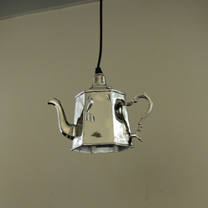 Silver Metal Teapot Ceiling Light