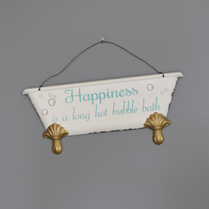 'Happiness is....' Hanging Bathroom Wall Plaque