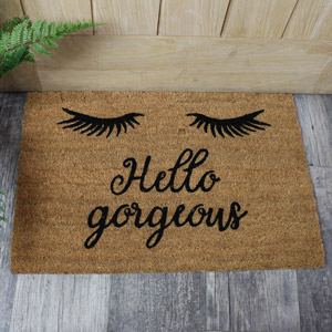 'Hello Gorgeous' Eyelash Coir Doormat