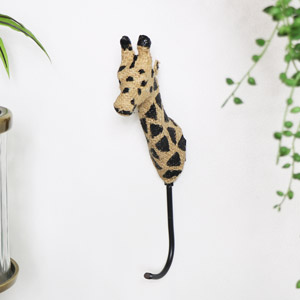Hessian Giraffe Head Wall Hook