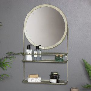 Industrial Bathroom Vanity Mirror with Shelf