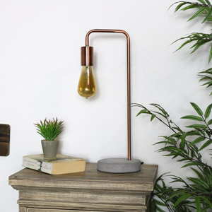 Industrial Copper Metal Table Lamp
