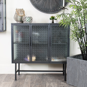Industrial Grey Metal & Glass Cabinet