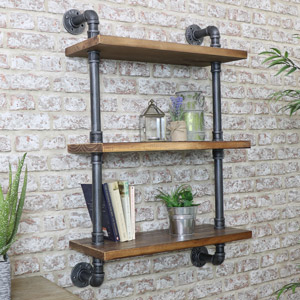 Industrial Metal & Wood Pipe Shelving Wall Unit