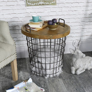 Industrial Retro Style Metal Storage Basket Table