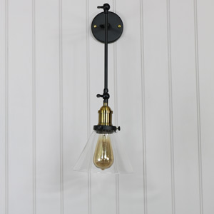Industrial Style Glass Adjustable Wall Light