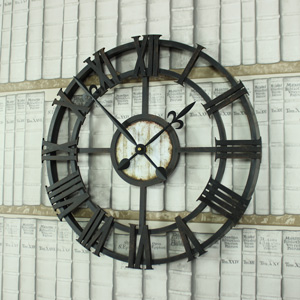 Industrial Style Skeleton Wall Clock with Roman Numerals
