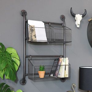 Industrial Wall Mounted Basket Storage Unit