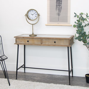 Industrial Wood & Glass Console Table with Organisers