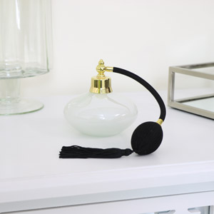 Iridescent Glass Vintage Perfume Bottle with Tassel