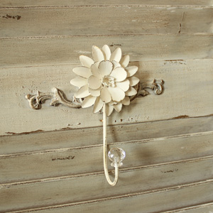 Ivory Metal Flower Single Wall Hook