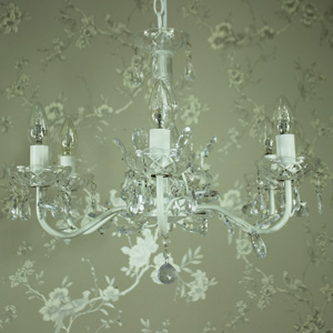 Ivory Six Arm Chandelier Pendant with Droppers