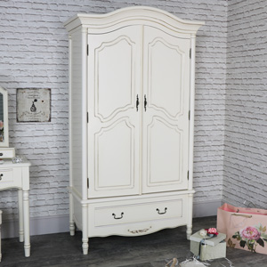 Large Antique Cream Armoire Style Double Wardrobe - Adelise Range