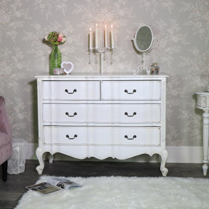 Large Antique Cream Chest of Drawers - Limoges Range