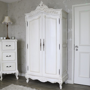 Large Antique Cream Armoire Style Double Wardrobe - Limoges Range