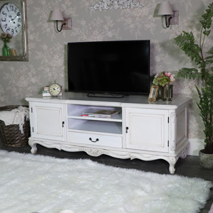 Large Vintage Ornate Cream TV Cabinet - Limoges Range