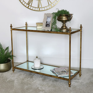 Large Antique Gold Mirrored Console Table