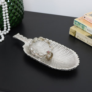 Large Antique Silver Feather Trinket Dish