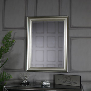 Large Silver Framed Bevelled Wall Mirror