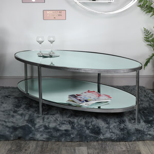 Large Antique Silver Oval Mirrored Coffee Table