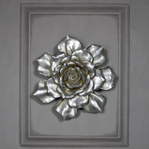 Large Antique Silver Wall Mountable Flower