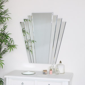 Large Art Deco Fan Frameless Wall Mirror