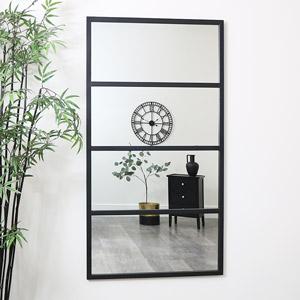 Large Black 4 Panel Window Mirror