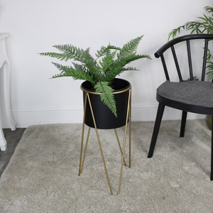 Large Black & Gold Planter