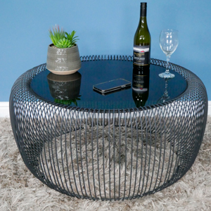 Large Black Metal & Glass Wire Coffee Table