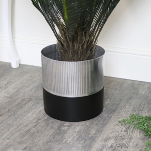 Large Black & Silver Metal Planter