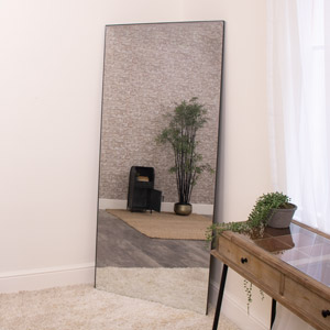 Large Black Thin Frameless Leaner Mirror 80cm x 180cm