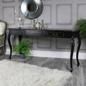 Large Black Vintage 3 Drawer Console Hall Table - Pierre Range
