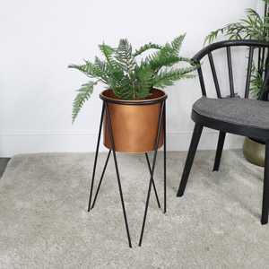 Large Copper & Black Planter