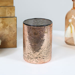 Large Copper Glass Candle Holder