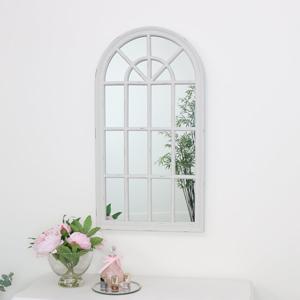 Large Cream Arched Window Wall Mirror 46cm x 86cm